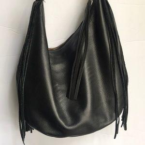 Lucky brand black leather purse fringe